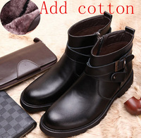 FREE SHIIPING 2013 winter British fashion plus cotton men's leather boots