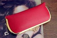 New arrival fashion women long style wallet gold metal hasp buckle wallet PU material gold ladies coin purse  003