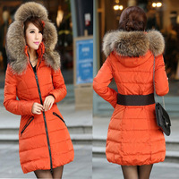 Free shipping! 2013 New Women's Vlsivery Large Raccoon Fur Thickening slim Down Jacket Coat parkas jackets Plus Size S-XL A298