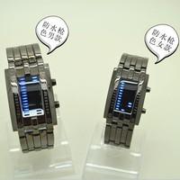 2pcs Hot Black Wris Watch Lovers Couple Watch LED Watch Stainless Steel Metal Watch Metal Bracelet