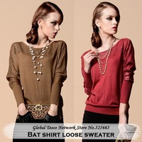 New 2014 Spring Fashion Loose Batwing sleeve o neck Pullover knitted Sweater Plus size Women Rubber red / Coffee / Black