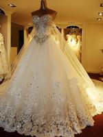 2014 New design Personal custom All size Bride top luxury V-neck train wedding dress HOT SALE high quality lace wedding dress
