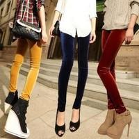 2014 Korea women thin fashion gold velvet pencil pants antnmn winter lady feet nine points leggings free shipping LE9001