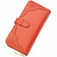 Women's  Wallet Female Long Design Card Holder Genuine Leather Wallet Card Case Mobile Phone Bag Coin Purse