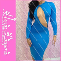 Free shipping New Bandage Dress 2013 Sheath Long sleeve O-Neck Solid neon Slim Hip Sexy For Women Novelty Dresses Blue  5559
