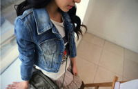 2013 New Style Girls Women's Denim Jacket Distressed Crop Denim Jean Jacket Coat