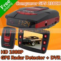 "100% Original Conqueror GPS 1380H Radar Detector , Upgrade of GR-H8 with 2.4"" LCD HD 1080P Car DVR + GPS + Strelka + Russian"