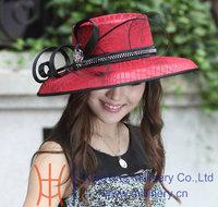Free Shipping Newly Designed Satin Dress Hat Women Dress Hats Big Brim Red Girls Church Hats Fedoras Hat