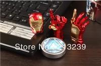 4 pcs/lot New Avengers LED Gold Ironman 3/Reactor/Iron Man Right/Left Hand Usb 2.0 memory flash stick pendrive (retail packings)