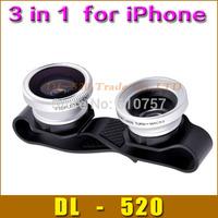 Fish eye lens CLIP 0.67X Wide-Angel+Macro+180 Fisheye 3 in 1 lens for iPhone 4 4s 5 5c 5s iPad 2 3 Mini,1 pcs mobile phone lens