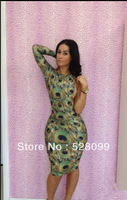 free shipping New Fashion 2013 Bandage Sexy Club Party Long Sleeve One Shoulder  The Peacock Dresses For Women Hot! Hot !Hot !