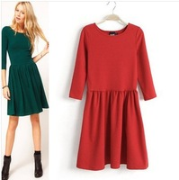 2013 new winter fashion round neck tunic winter dress Princess Women Dress for M sleeve great qulity