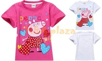 New Peppa Pig T-shirt 100% cotton Children wear baby girls Top short sleeve Rose / white Free shipping