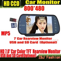 """Factory Selling Car 7"""" Color TFT LCD Car Rearview Monitor SD USB MP5 FM Transmitter Car Camera Mirror DVR Free Shippinrg"""