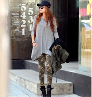 2014 Free shipping autumn fashion cotton sexy print  disruptive pattern legging military personalized color block ankle length