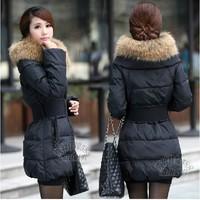 Free shipping!2013 new Women's fashion large fur collar slim white duck down thickening medium-long down coat jacket outerwear