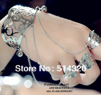F002  #2 WOMEN Silver Plating Cuff SLAVE BRACELET Connected FLOWER BELL DANCING RING