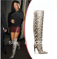 Ladies pointed toe high heel over the knee boots!rihanna leopard thigh high boots