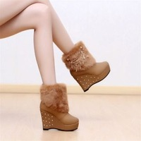 Free Shipping  Women Fashion Retro  Heels Platform slipsole Shoes Warm Boots ,drop shipping fur shoes XWX326