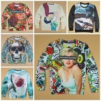 in stock!Factory Tops Women/Men shark skull print Pullover 3D Sweatshirts Hoodies flower floral Galaxy sweaters Tops
