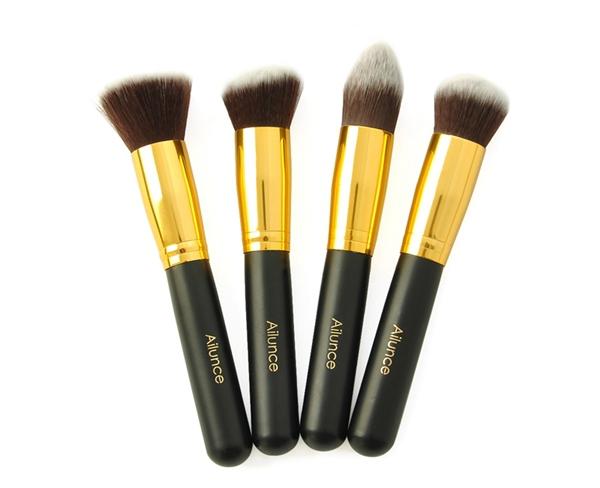 4 Piece Gold Pro Foundation Blush Liquid Brush Kabuki Makeup Brush Set Cosmetics Tool ZH117C Fshow(China (Mainland))