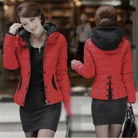 2014 New Women Hit Colour Slim Split Back Down Cotton Overcoats Plus Size Hooded Warm Winter Jacket Fashion Coat Parka tops