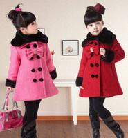 Retail Fashion Kids girl winter coat double breasted fur collar bow autumn winter girls jacket outerwear children wool overcoat