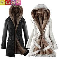 Hot Sale 2014 fur lining women winter jacket warm long fur hooded thicker coat jacket black/Beige clothes wholesale S-XXXL