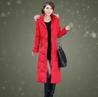 Free shipping!2013 new  winter thickening slim  female ultra long lengthen women down jackets outerwear parkas coat