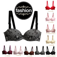 new fashion women underwear sexy bras deep v brassiere push up bra spot floral lingerie seamless wear set 1/2 cup size a b 36b