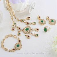 Dubai Hot Selling Purple/Green Rhinestone Pendant & Necklace Muslim Allah Gold Plated Jewelry Set For Women Bride,A066