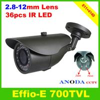 700TVL CCTV Camera Sony Effio-E 4140+811 OSD Menu 2.8-12mm Varifocal Lens 36LED IR Security Camera Outdoor Using