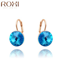 ROXI Exquisite blue Austrian crystal earrings,fashion women earrings,rose gold plated,Nickeless jewelry,free shipping,wholesale