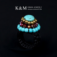 (Min order is $10) New Design Nice Handmade Turquoise Crystal Ring for Women RI-02017 Free Shipping