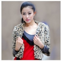 2014 Autumn Quality Product  New Short Coat Women's Korean Style Outwear Faux Fur Leopard Three QuarterJacket M/L/XL
