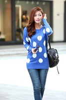 Hot Sell Loose Women's Wool Batwing Sleeve Weave Dot Pullover Sweaters Knitted Women Clothes SWEATER-101