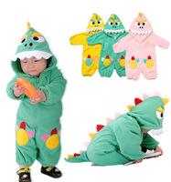 New Retail!0-2Yrs Baby Girls Boys Infant Romper For Spring Childrens Dinosaur Shape Fleece Kids Jumpsuit Toddler Free Shipping