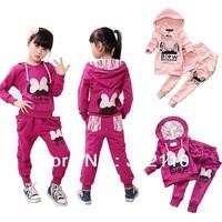 Retail Kids suits Children clothing sets Sport suits Tracksuit Girls Casual clothes Minnie Bow Lace 100% Cotton 100-160cm
