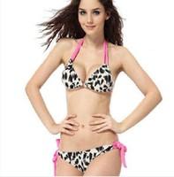 Free Shipping Ladies Leopard Print Bikini Swimsuit For Woman Classic Padded CostumeTwo Piece Ladies Swimwear Cheap Sale Online