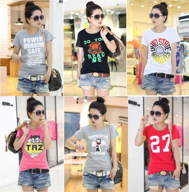 Free Shipping 2014 Fashion Good Quality Cotton Short Sleeve Women T Shirt Lady Vest Hot Selling(China (Mainland))