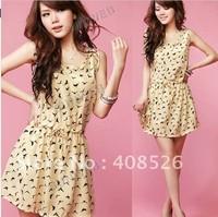 2013 New Women's Dress Bird Animal Pattern Crew Neck Casual sleeveless Chiffon Dress Sundress free shipping 4557