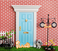 iland 1:12 Dollhouse Miniatures Lovely Fairy Doors Light Blue Exterior Door W/ Metal Accessories Exquisite
