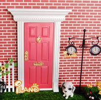 1:12 Dollhouse Miniatures Lovely Fairy Doors Dark Pink Exterior Door W/ Metal Accessories Exquisite