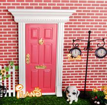 1:12 Dollhouse Miniatures Lovely Fairy Doors Dark Pink Exterior Door W/ Metal Accessories Exquisite(China (Mainland))
