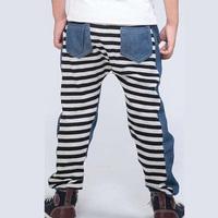2014 Thin Boys Casual Pants: Children Boys Striped Cotton Trousers Kids Fashion Outwear Grey Good Quality New Babyinstar Brand