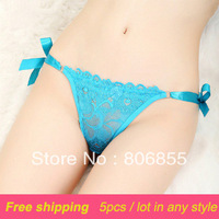 5pcs/lot FREE SHIPPING Plus size women's  Thong T-back lace waist lacing transparent T-back