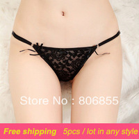 5pcs/lot FREE SHIPPING High quality women thong ladies G-string waist adjustable  hollow out  lace panties