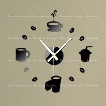 Gustless coffee diy clock wall clock fashion acrylic combination of watches and clocks Three-dimensional crystal wall stickers(China (Mainland))