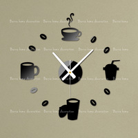 Gustless coffee diy clock wall clock fashion acrylic combination of watches and clocks Three-dimensional crystal wall stickers