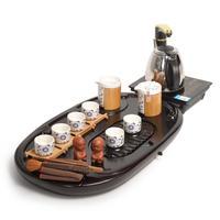 Set ceramic kung fu tea set zone induction cooker solid wood tea tray tz066